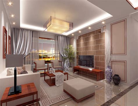 China Modern Living Room Suspended Ceiling And Tv Wall