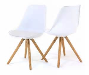 lot 2 chaises blanches design scandinave oris