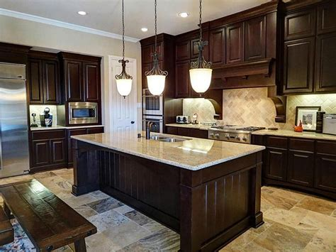 Light Cherry Kitchen Cabinets by Dark Cabinets Light Countertops Contemporary Kitchens