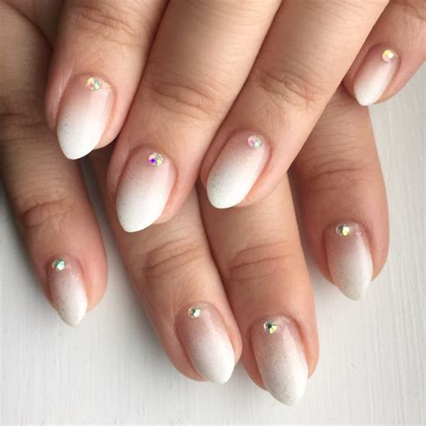 ongles nail white ombr 233 gel nails with rhinestones yelp