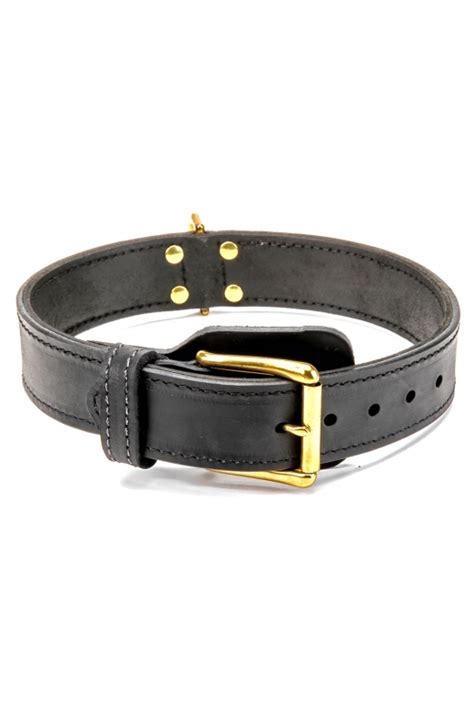 Handcrafted Collars - buy handcrafted 2 ply leather agitation doberman collar