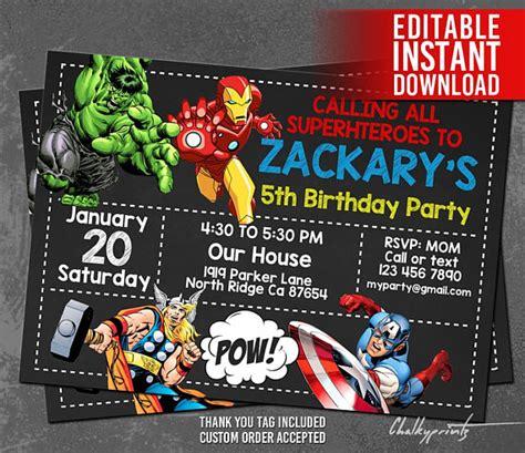 Avengers Invitation Instant Download Avengers Invitations Marvel Invitation Template Free
