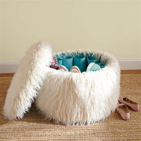 college dorm storage ottoman hidden shoe storage in this fun fuzzy ottoman great for