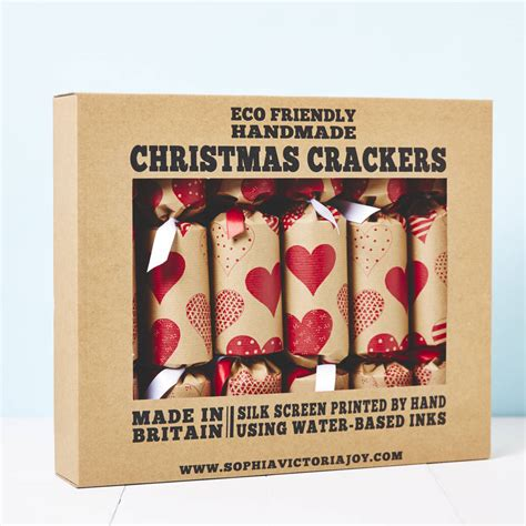 recycled heart christmas crackers by sophia victoria joy