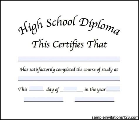 30+ free high school diploma template printable