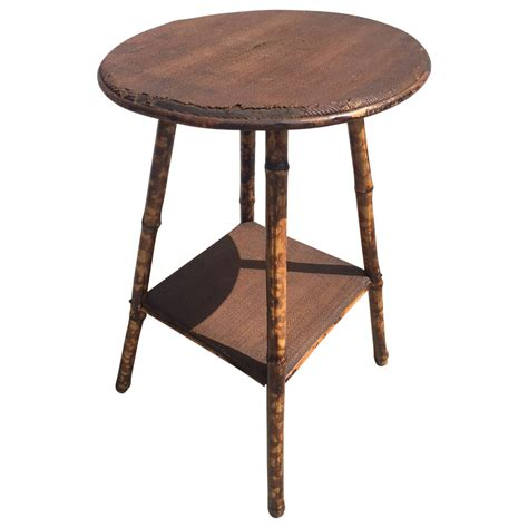 rattan side table 1930s scorched bamboo and rattan side table