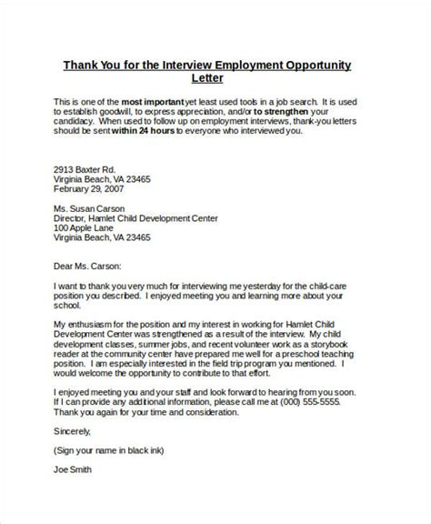 thank you letter to for employment 69 thank you letter exles
