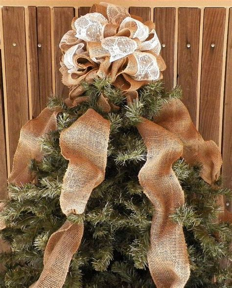 how to make a burlap bow tree topper burlap and lace tree topper burlap by sweetswagory tree toppers trees