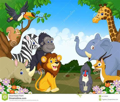 wild animal cartoon stock vector illustration  group
