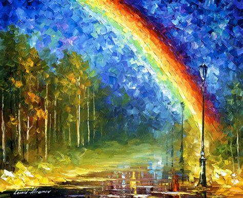 painting rainbow rainbow palette knife painting on canvas by leonid