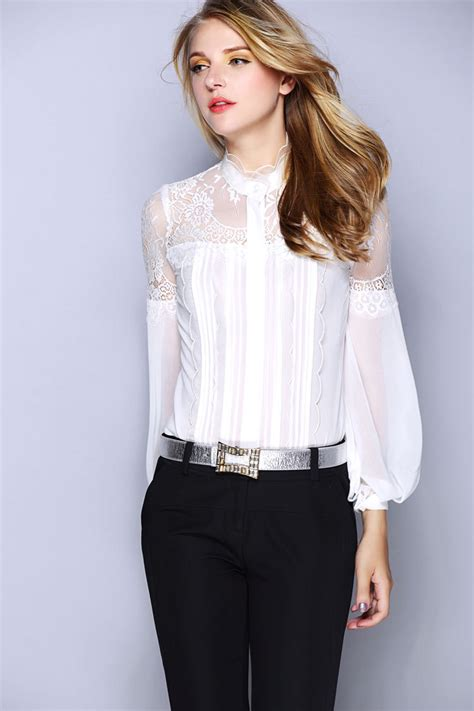 Blouse Branded White new luxury white black silk blouses for brand blouse with lace sleeve silk
