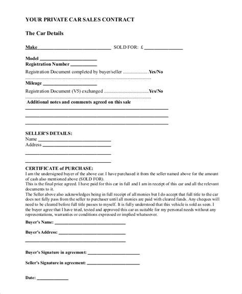 Sle Car Sale Contract Forms 8 Free Documents In Pdf Doc Car Sale Contract Template