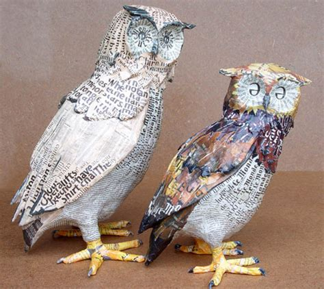 Make Animal Sculptures With Paper Mache Clay - my owl barn paper mache sculptures by aude goalec