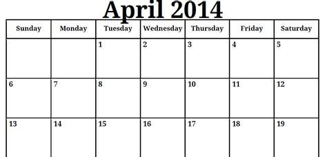 Calendar April 2014 6 Best Images Of April 2014 Calendar Printable Pdf April