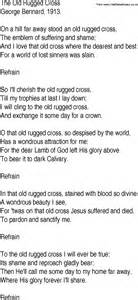 hymn and gospel song lyrics for the rugged cross by