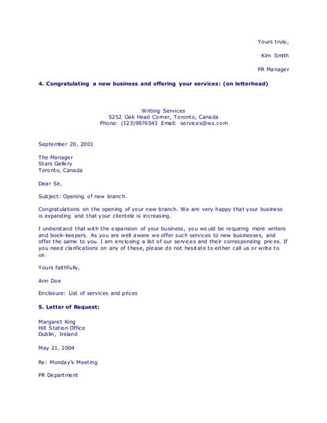 Business Letter Offering Services types of business letters