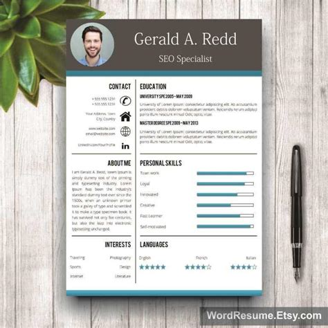 Creative Cv Templates by Creative Cv Template Cover Letter Word Gerald A Redd