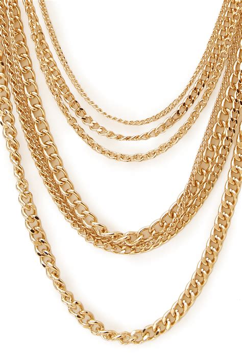 forever 21 signature multi layered chain necklace in gold