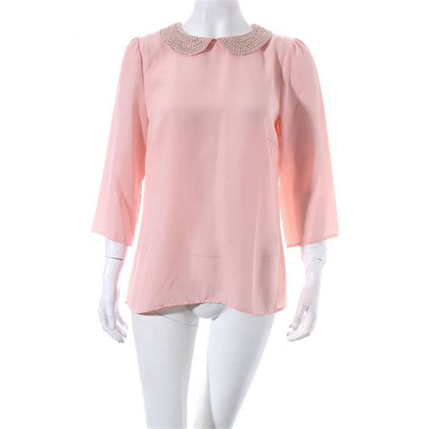 light pink womens hallhuber sleeve blouse light pink style