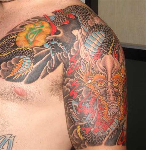 traditional quarter sleeve tattoo japanese traditional chest to half sleeve tattoo