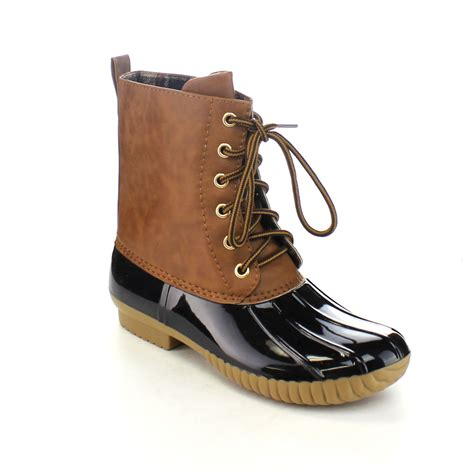 womans duck boots axny s lace up two tone calf duck boots run