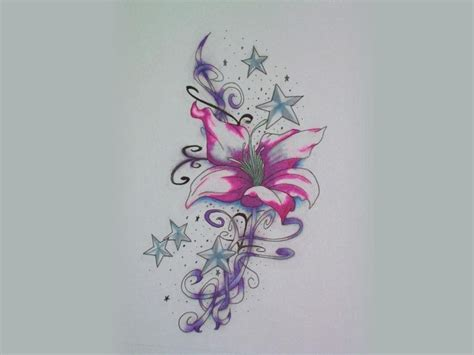 flower star tattoo designs pink flower with around tattoos
