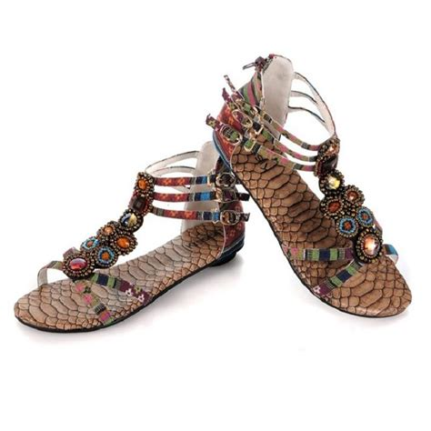 beaded ankle sandals womens exquisite bohemian beaded gemstone ankle