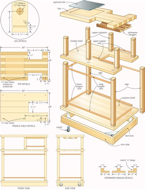 woodworking blueprints rolling bar woodworking plans woodshop plans
