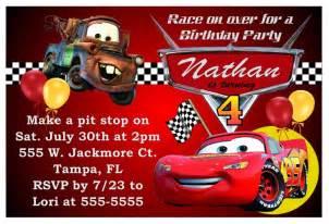 quot disney cars birthday invitations quot