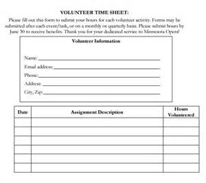 Volunteer Time Sheet Template by 11 Volunteer Timesheet Templates Free Sle Exle