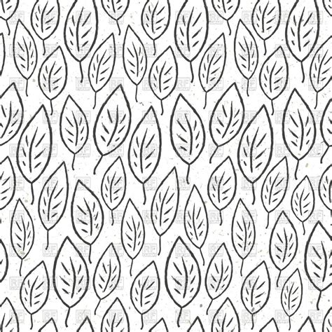 pattern outline seamless pattern with stylized leaves outline black and