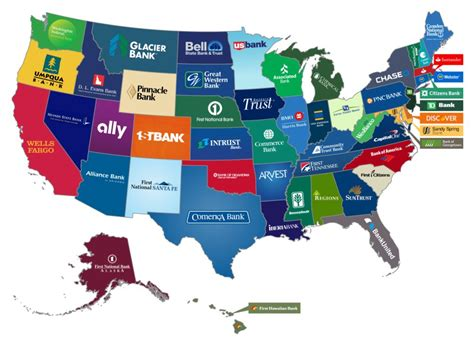things to do in every state this map shows the biggest bank in every state business