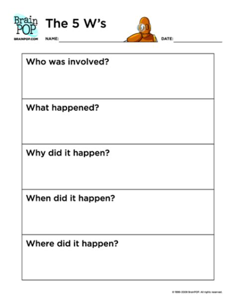 5 W S Worksheet by The 5 W S Brainpop Educators