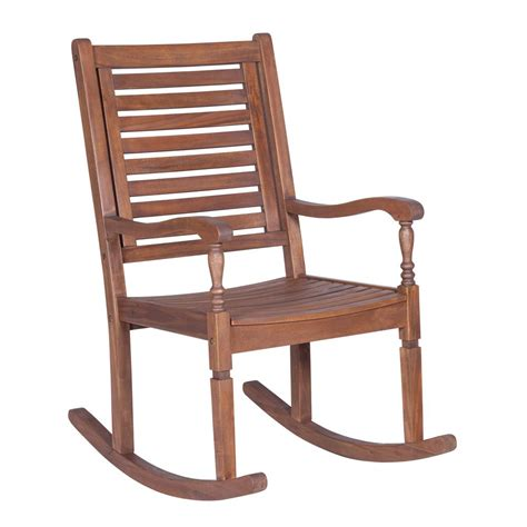 Patio Rocking Chairs Wood Hton Bay Brown All Weather Wicker Patio Swivel Rocking Chair With Sky Blue