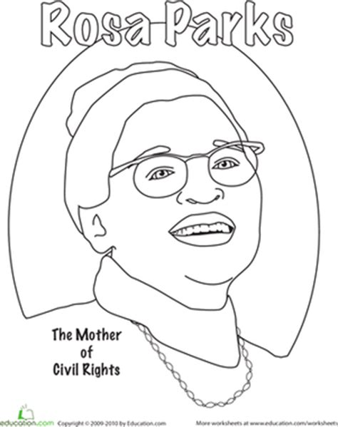 rosa parks coloring worksheet education com