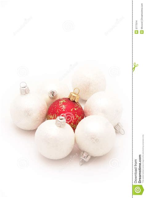red and white christmas balls stock images image 3777514