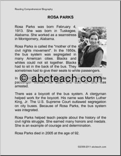 rosa parks biography for students black history month theme unit free printable worksheets