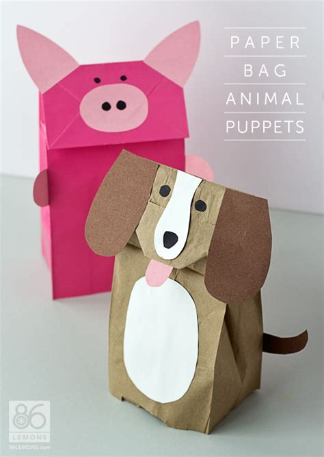 paper bag animal puppets tutorial and free template
