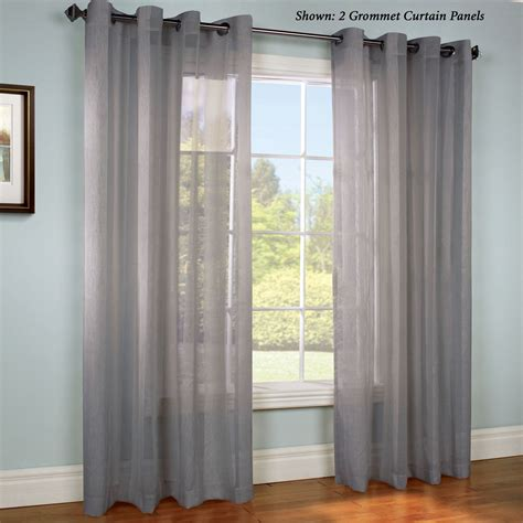 gray sheer curtains stellan dark gray striped sheer grommet curtain panels