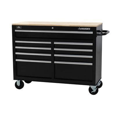 Husky 52 In 9 Drawer Mobile Workbench With Solid Wood Top by Husky 46 Inch W 9 Drawer Mobile Workbench Vella Ca