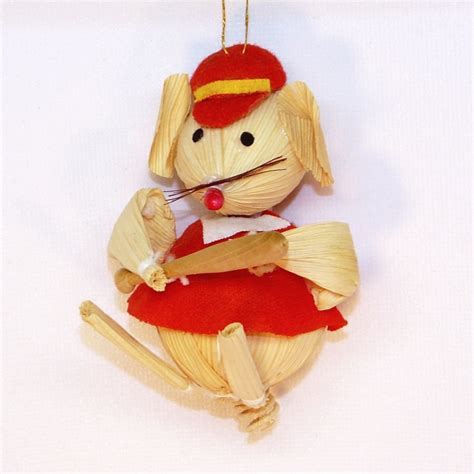 vintage corn husk mouse baseball player christmas ornament