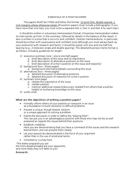 position paper template position paper format memorandum argument