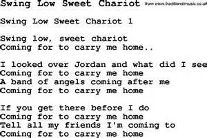 Swing Words Negro Spiritual Song Lyrics For Swing Low Sweet Chariot