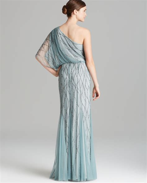 beaded mesh blouson gown papell gown one shoulder blouson with beaded mesh