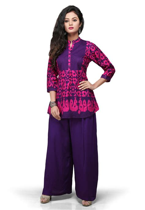 Tunik Rayon 1 printed rayon tunic in fuchsia and purple tvt79