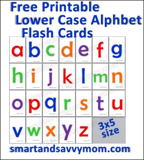 printable alphabet flashcards for preschoolers colorful lower case flash cards free printable from