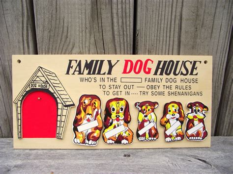 family dog house plaque vintage in the dog house kitschy wall plaque family dog