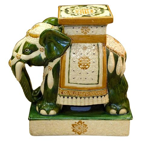 vintage ceramic elephant stool vintage glazed ceramic elephant garden stool for sale at
