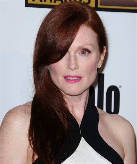 julianne moore hair color at home julianne moore long straight formal hairstyle dark red