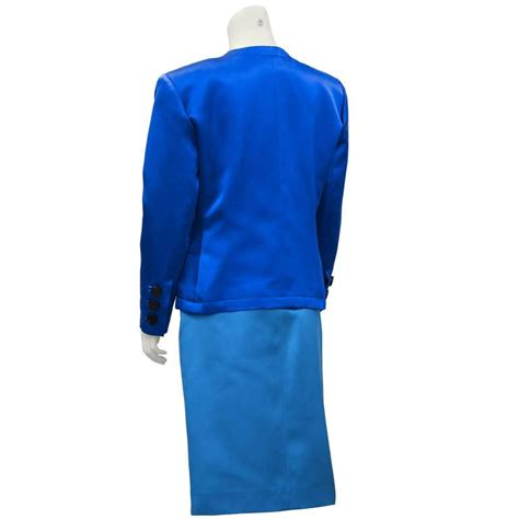 1980 s yves laurent ysl shades of blue skirt suit